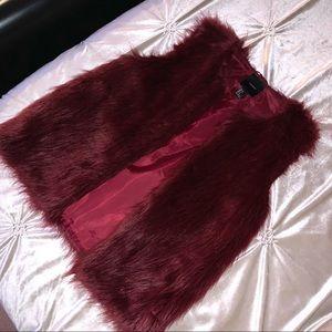 Forever 21 Burgundy Faux Fur Vest SMALL